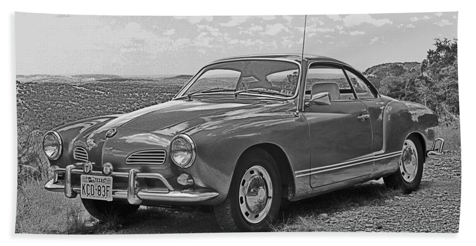 Old Automobiles Hand Towel featuring the photograph Karmann Ghia Coupe I I I by Jim Smith