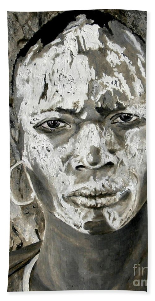 Tribal Art Hand Towel featuring the painting Karo Man by Portraits By NC