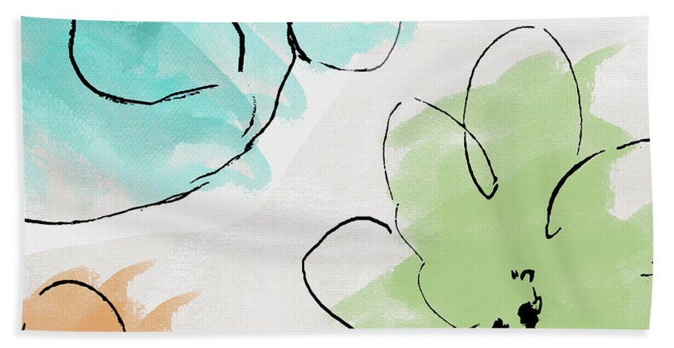 Abstract Hand Towel featuring the painting Kasumi by Mindy Sommers