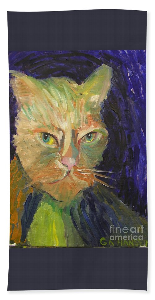 Van Gogh Bath Sheet featuring the painting Kat-van-go by Gail Eisenfeld aka G Kitty Hansen