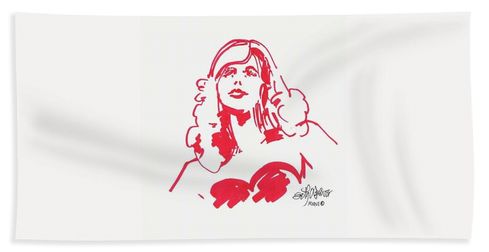 A Fashion Model And Movie Star Captured In A Classic %0 Bath Sheet featuring the drawing Kate Moss by Seth Weaver