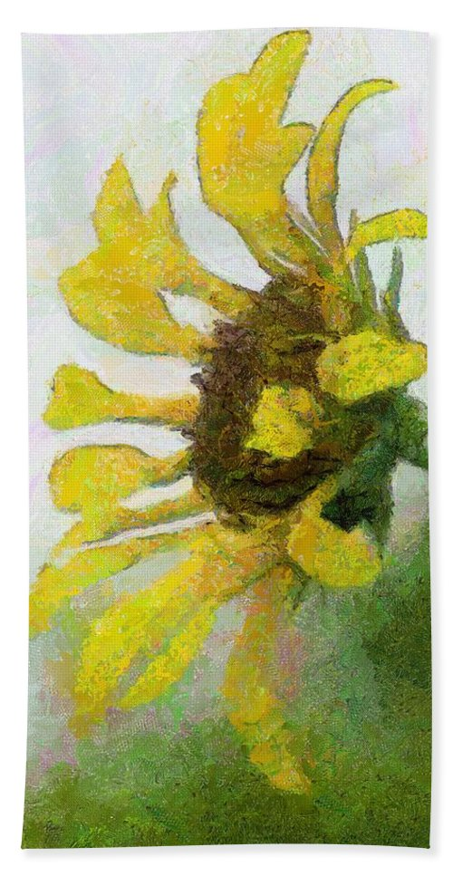 Sunflower Bath Towel featuring the painting Kate's Sunflower by Jeffrey Kolker