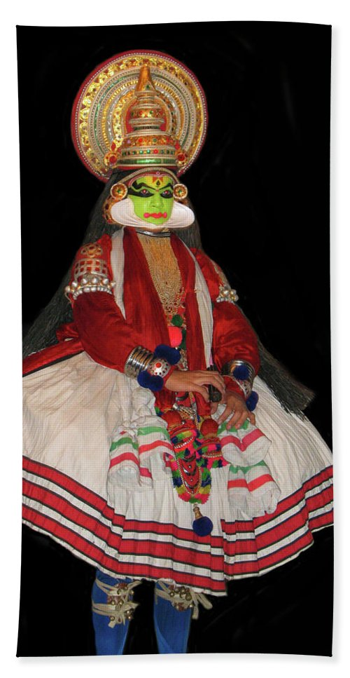 Kathakali Hand Towel featuring the photograph Kathakali Dancer by Art Spectrum