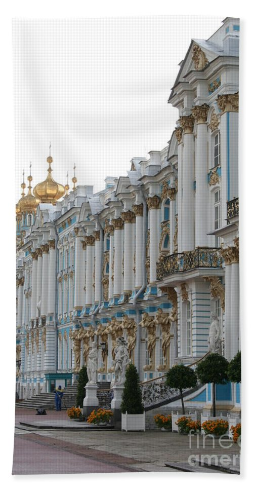 Palace Bath Sheet featuring the photograph Katharinen Palace And Onion Domes - Russia by Christiane Schulze Art And Photography