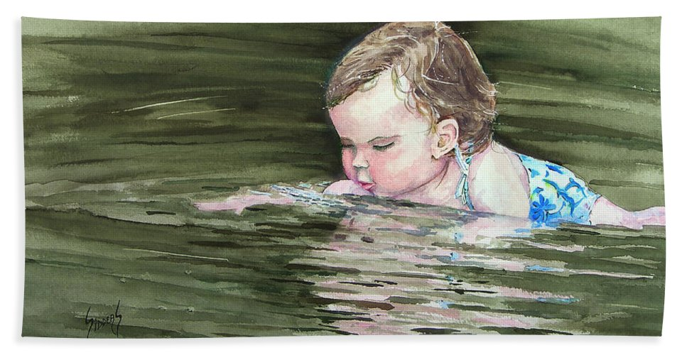 Child In River Bath Sheet featuring the painting Katie Wants A River Rock by Sam Sidders