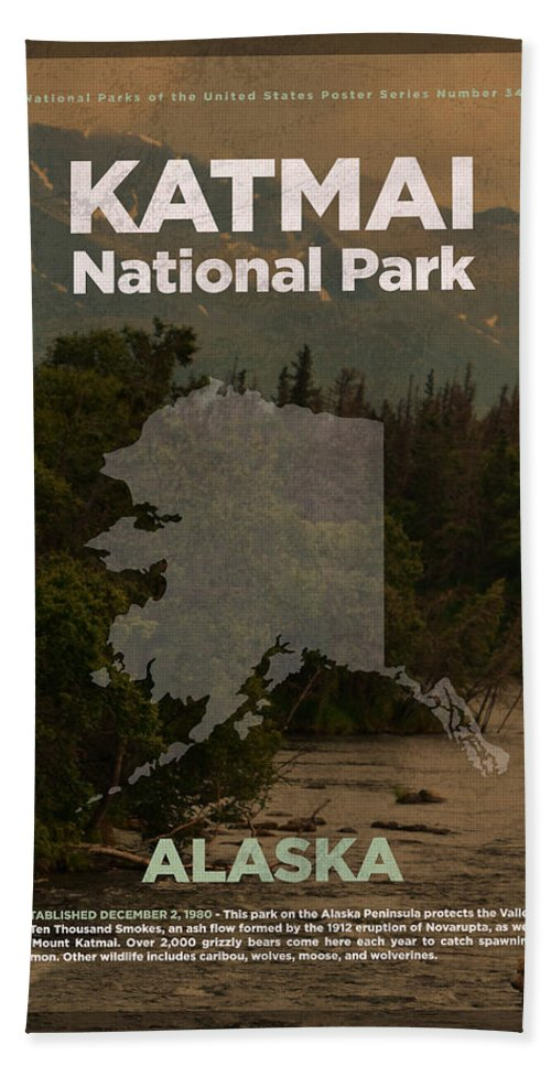 Katmai Bath Sheet featuring the mixed media Katmai National Park In Alaska Travel Poster Series Of National Parks Number 34 by Design Turnpike