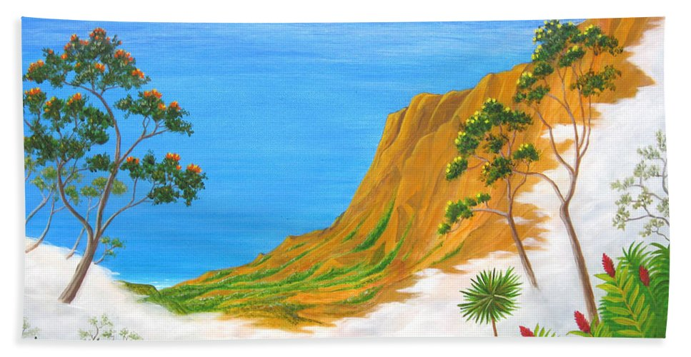 Landscape Hand Towel featuring the painting Kauai Hawaii by Jerome Stumphauzer