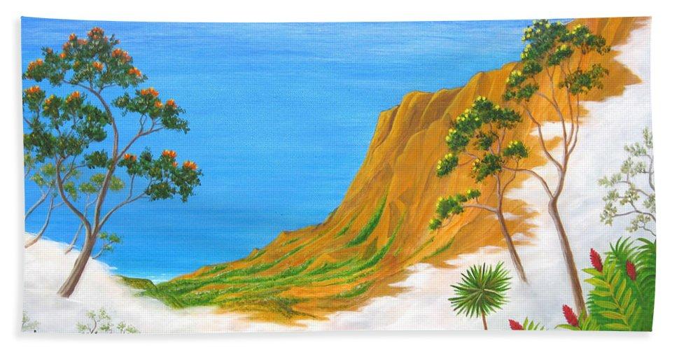 Landscape Bath Sheet featuring the painting Kauai Hawaii by Jerome Stumphauzer