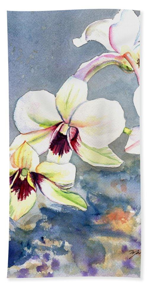 Kauai Fine Art Hand Towel featuring the painting Kauai Orchid Festival by Marionette Taboniar