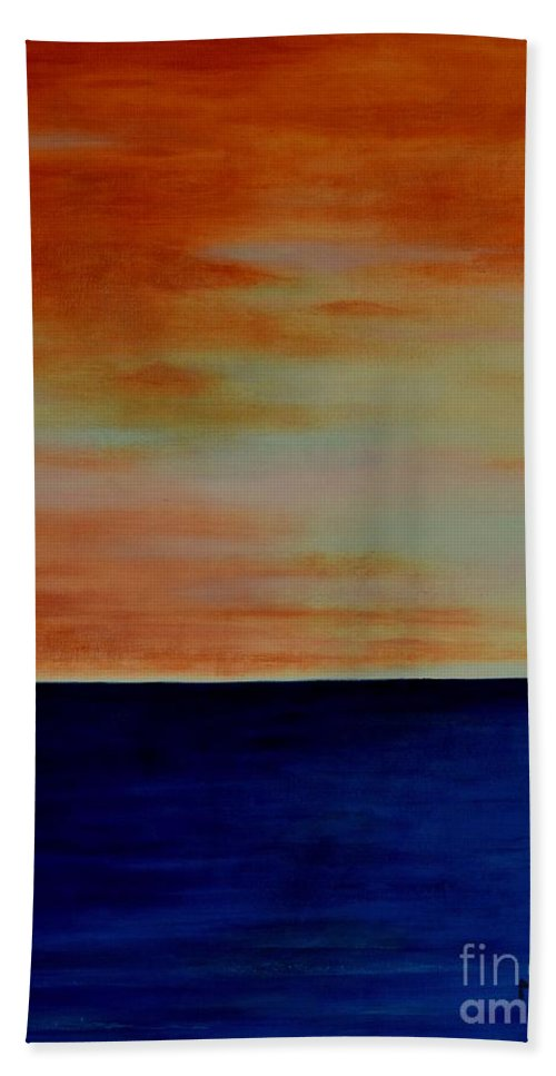 Sunsets Bath Sheet featuring the painting Kauai Sunset Under Vog by Mary Deal