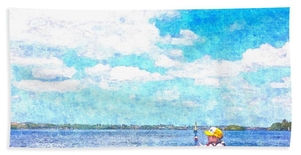 susan Molnar Hand Towel featuring the photograph Kayak Lesson by Susan Molnar