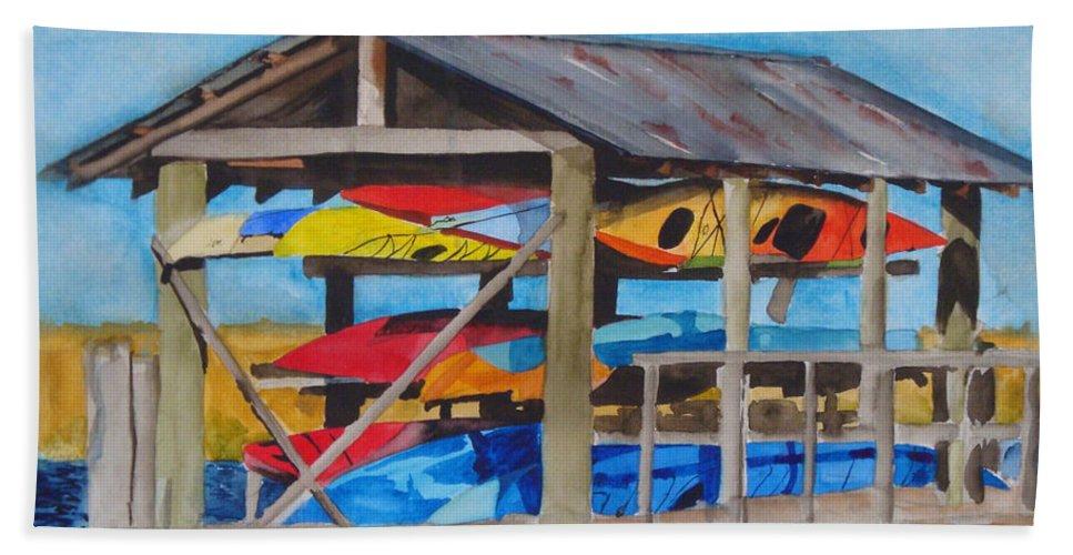 Kayak Hand Towel featuring the painting Kayak Rainbow by Jean Blackmer