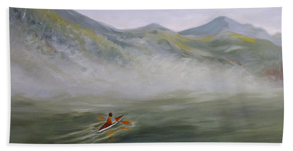 Landscape Hand Towel featuring the painting Kayaking Through the Fog by Joanne Smoley