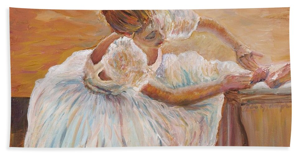 Dancer Bath Sheet featuring the painting Kaylea by Nadine Rippelmeyer