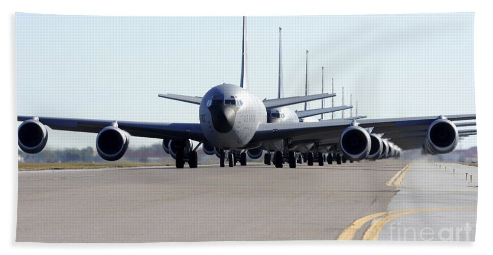 Kc-135 Stratotanker Hand Towel featuring the photograph Kc-135 Stratotankers In Lephant Walk by Stocktrek Images