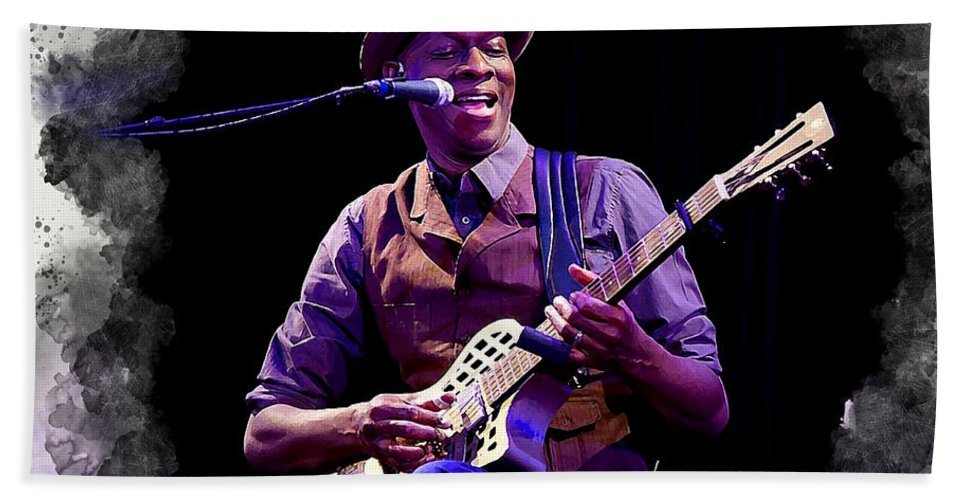 Keb Mo Hand Towel featuring the digital art Keb' Mo' by Karl Knox Images