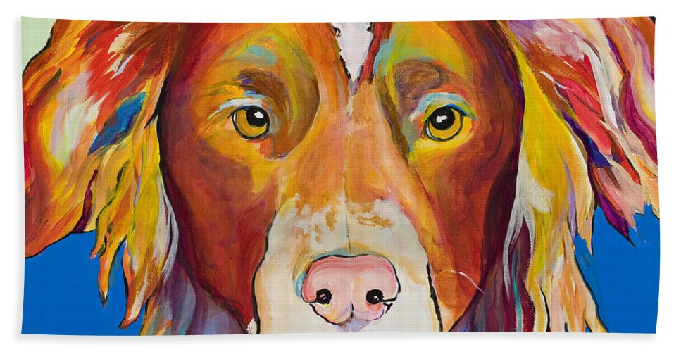 Australian Border Collie Hand Towel featuring the painting Keef by Pat Saunders-White