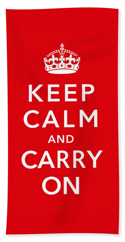 Britain Bath Towel featuring the digital art Keep Calm And Carry On by War Is Hell Store