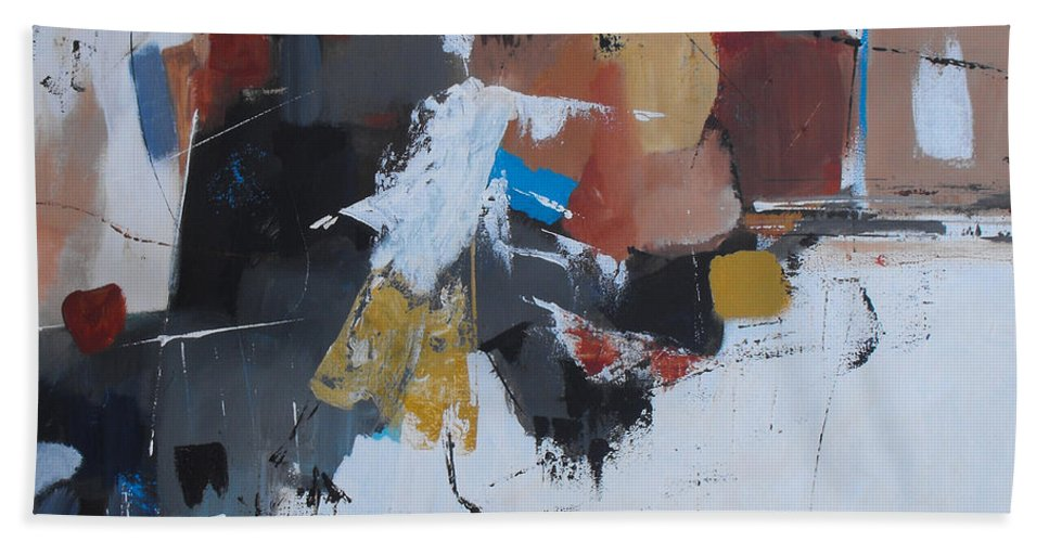 Abstract Hand Towel featuring the painting Keep On Dancin' by Ruth Palmer
