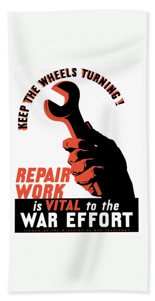 World War Ii Hand Towel featuring the painting Keep The Wheels Turning - Ww2 by War Is Hell Store