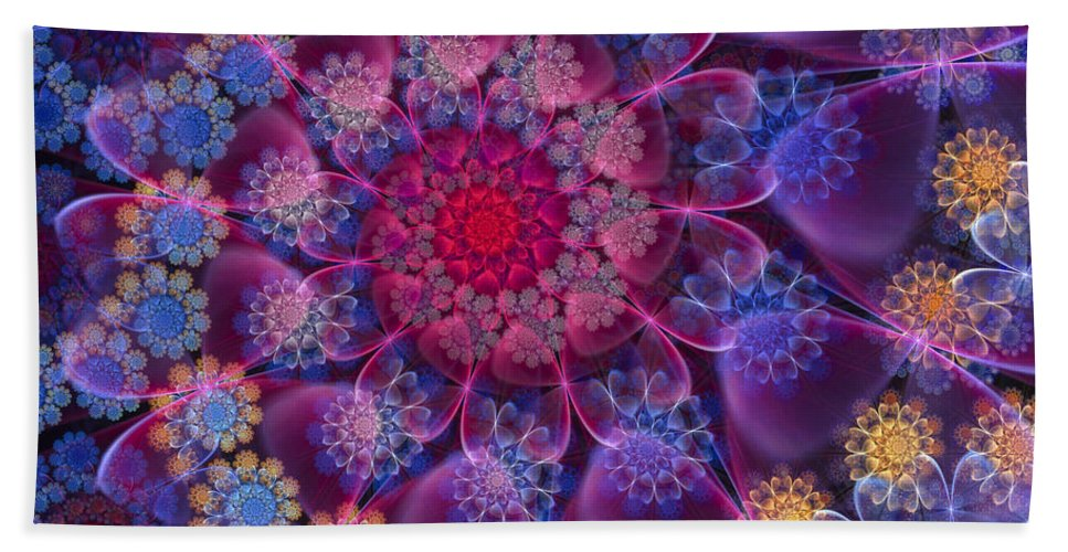 Fractal Bath Sheet featuring the digital art Keep Your Hearts Pink by Amorina Ashton