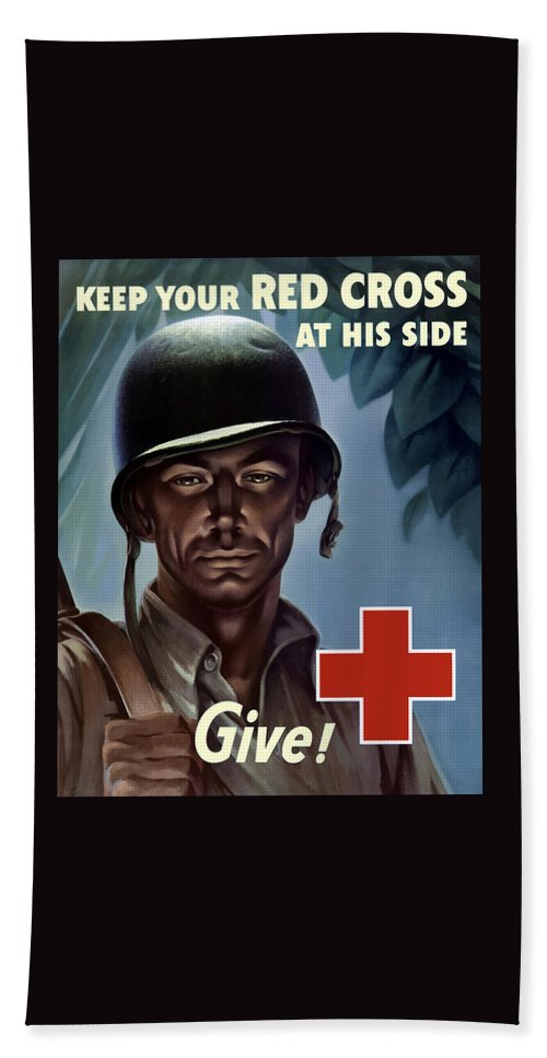 Red Cross Hand Towel featuring the painting Keep Your Red Cross At His Side by War Is Hell Store