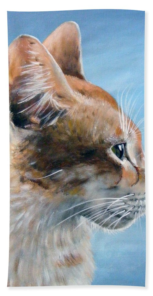 Acrylics Hand Towel featuring the painting Keeping An Eye On You by Arie Van der Wijst