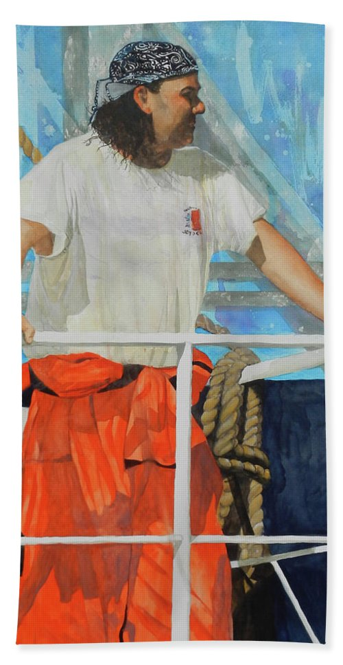 Portrait Bath Sheet featuring the painting Keeping Watch At The Locks by Jean Blackmer