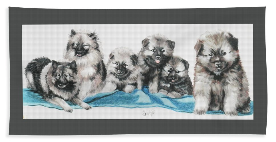 Non-sporting Hand Towel featuring the mixed media Keeshond Puppies by Barbara Keith