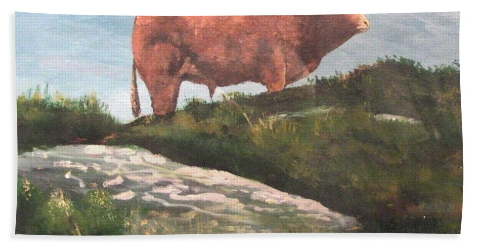 Bull Hand Towel featuring the painting Kerry Bull by Tony Gunning