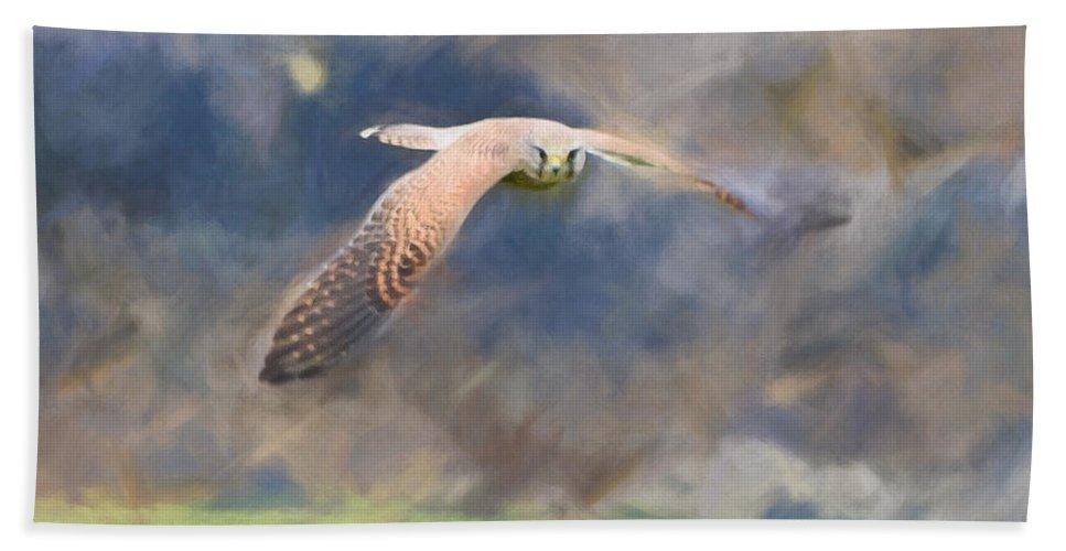 Carnivore Hand Towel featuring the digital art Kestrel Flying by Roy Pedersen