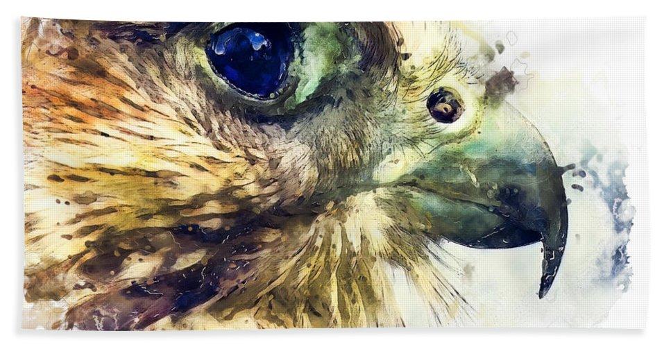 Kestrel Bath Sheet featuring the painting Kestrel Watercolor Painting by Justyna JBJart
