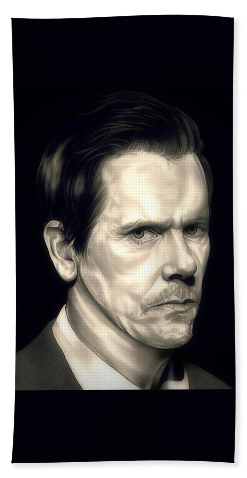 Kevin Bacon Hand Towel featuring the drawing Kevin Bacon - The Following by Fred Larucci
