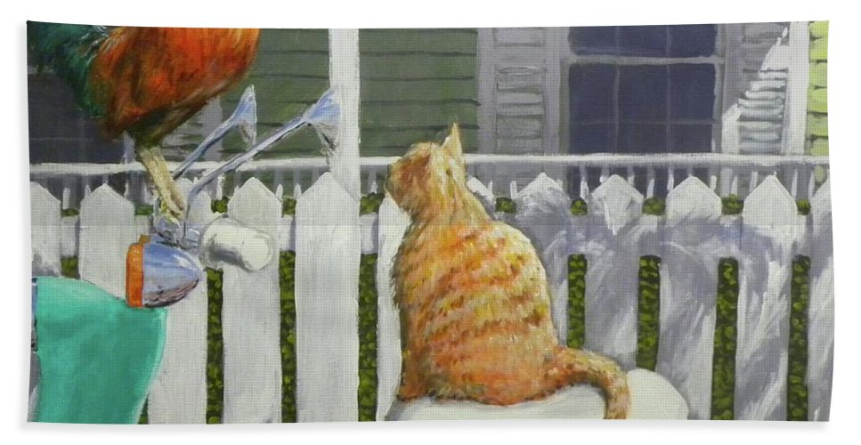 Rooster Hand Towel featuring the painting Key West Buddies by Paul Emig