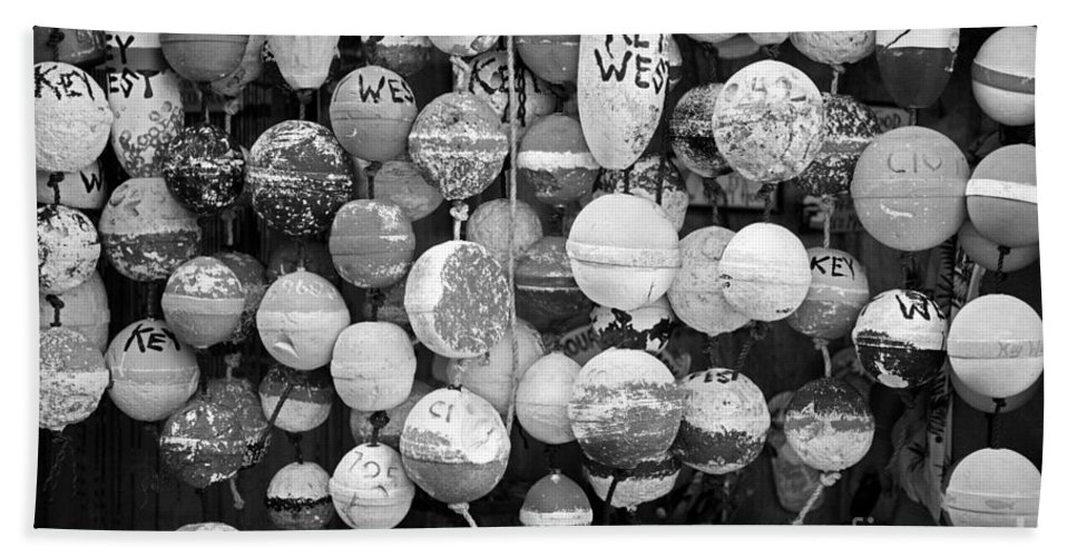 Lower Keys Bath Sheet featuring the photograph Key West Lobster Buoys Black And White by John Stephens
