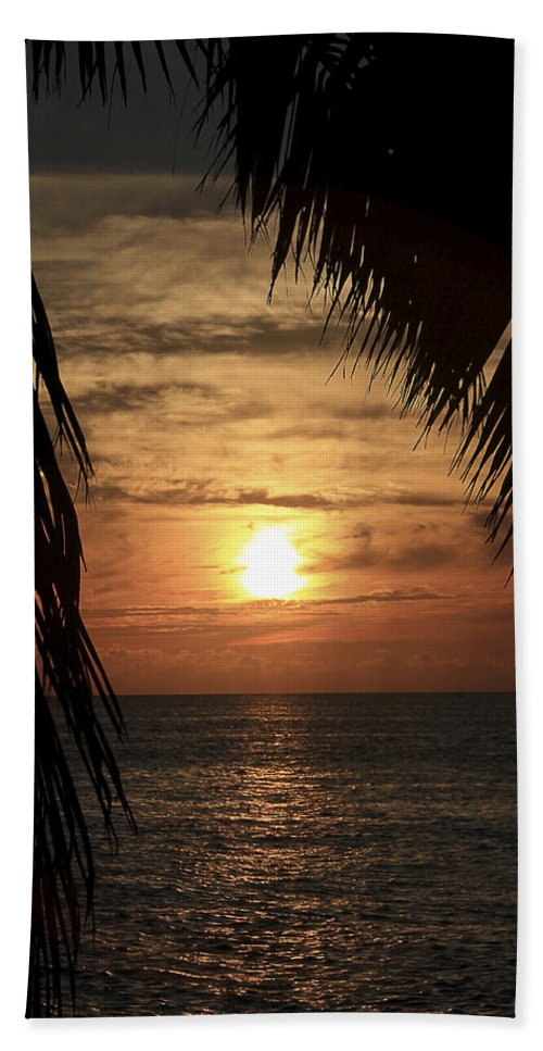 Silhouette Hand Towel featuring the photograph Key West Palm Sunset 2 by Bob Slitzan