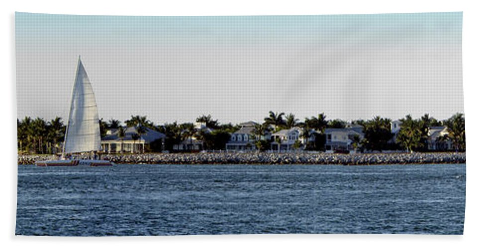 Water Hand Towel featuring the photograph Key West Panorama by Bob Slitzan
