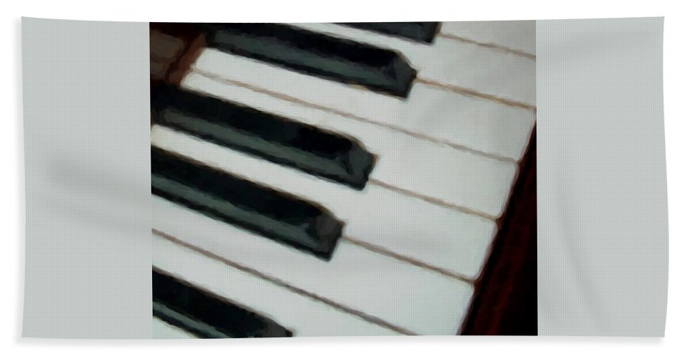 Piano Bath Towel featuring the digital art Keys Close Up by Anita Burgermeister