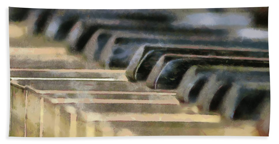 Piano Bath Sheet featuring the painting Keys To My Heart by Lynne Jenkins