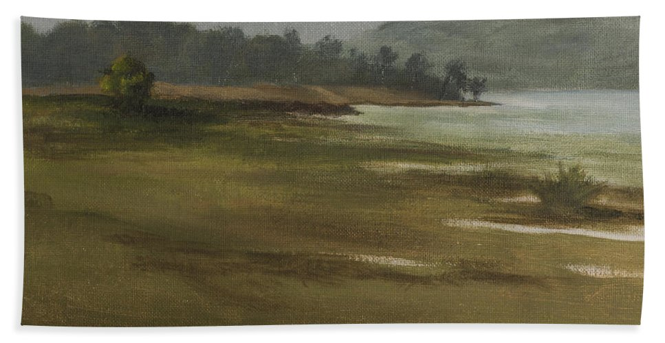 Landscape Bath Sheet featuring the painting Khandakwasla Haze by Mandar Marathe