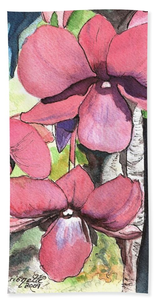 Orchid Bath Sheet featuring the painting Kiahuna Orchids by Marionette Taboniar