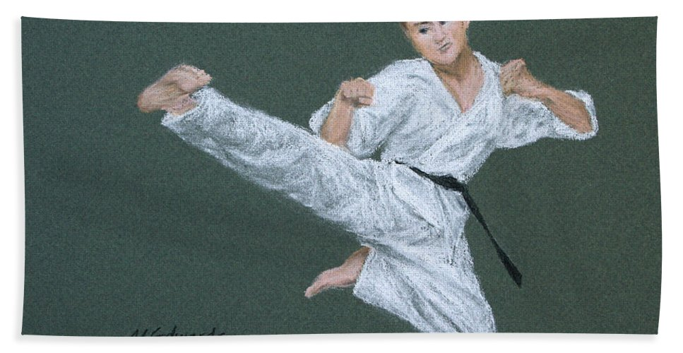Kick Bath Sheet featuring the pastel Kick Fighter by Marna Edwards Flavell