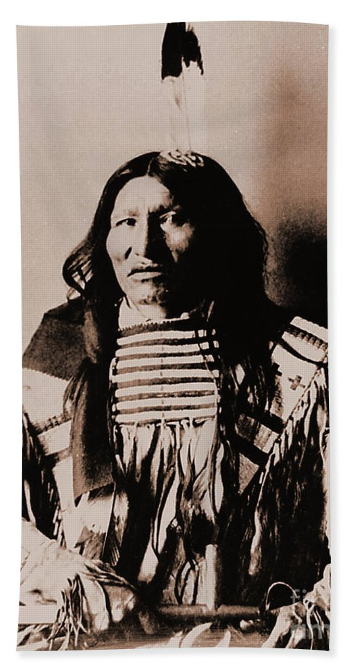 Native Hand Towel featuring the photograph Kicking Bear Indian Chief by Gary Wonning