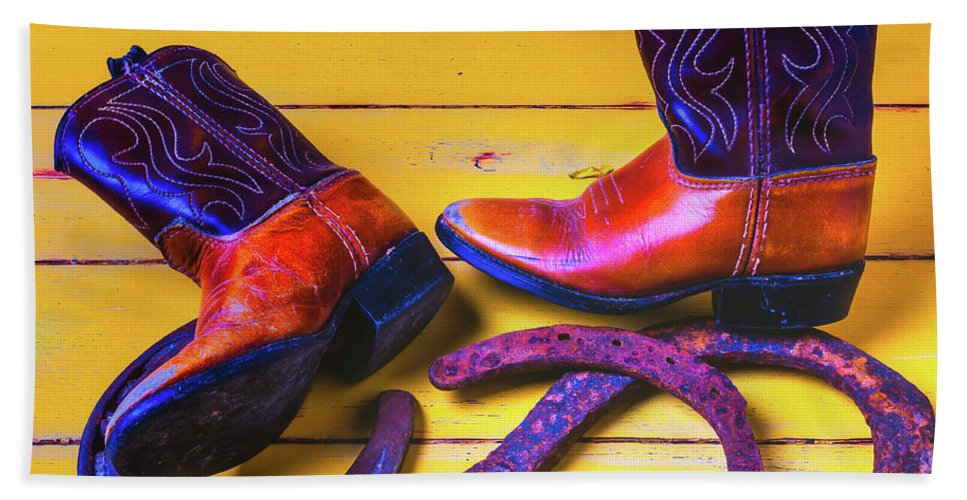 Mood Hand Towel featuring the photograph Kids Boots And Horse Shoes by Garry Gay