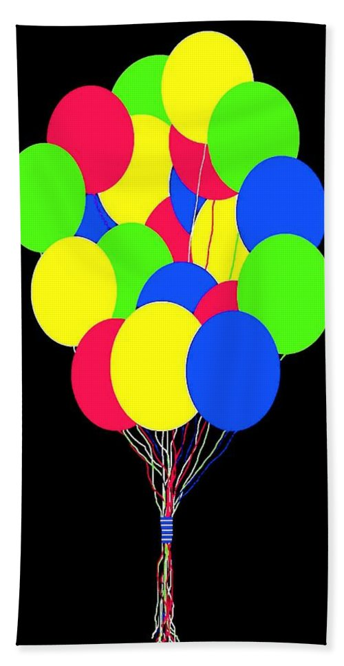 Balloons Hand Towel featuring the digital art Kids Korner Balloons by Will Borden