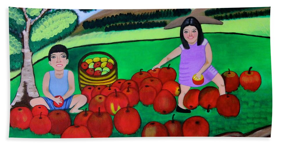 Designer Print Hand Towel featuring the painting Kids Playing And Picking Apples by Lorna Maza