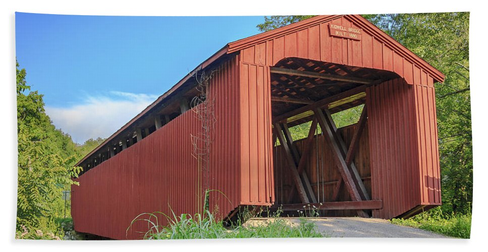 America Hand Towel featuring the photograph Kidwell Covered Bridge by Jack R Perry