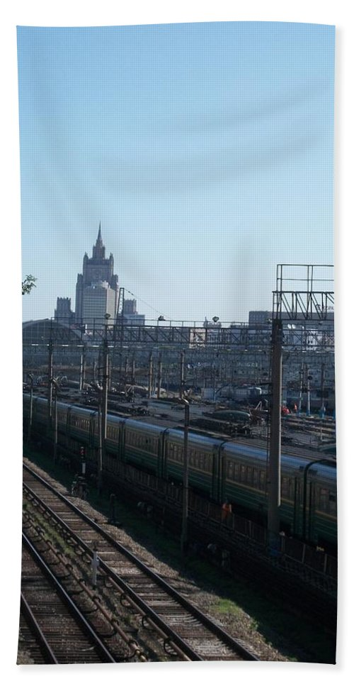Kievskaya Train Station Bath Sheet featuring the photograph Moscow Kievskaya Train Yard by James Hanemaayer