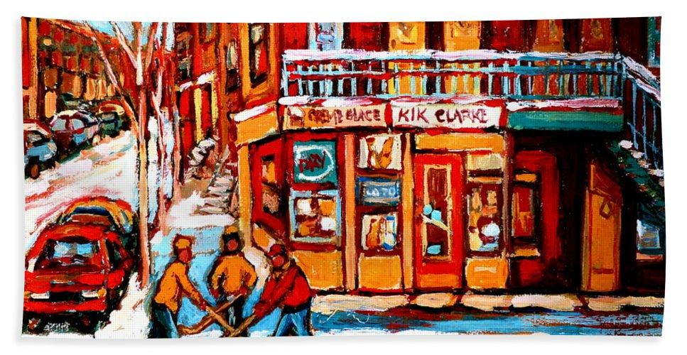 Montreal Streetscene Bath Towel featuring the painting Kik Cola Depanneur by Carole Spandau