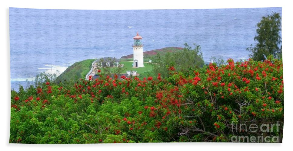 Lighthouses Hand Towel featuring the photograph Kilauea Lighthouse Kauai Hawaii by Mary Deal